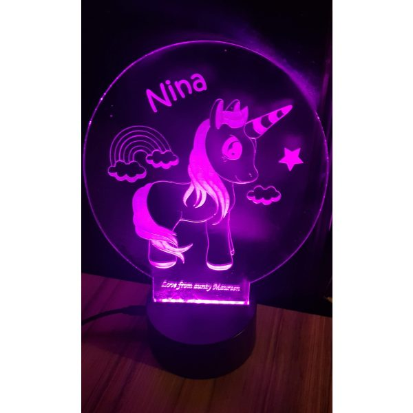 Personalised unicorn light feature with light base, with name Nina on it at the top