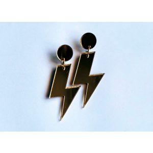 Gold acrylic lightning bolt earrings