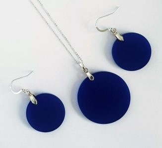 Blue and silver circle earrings and necklace set